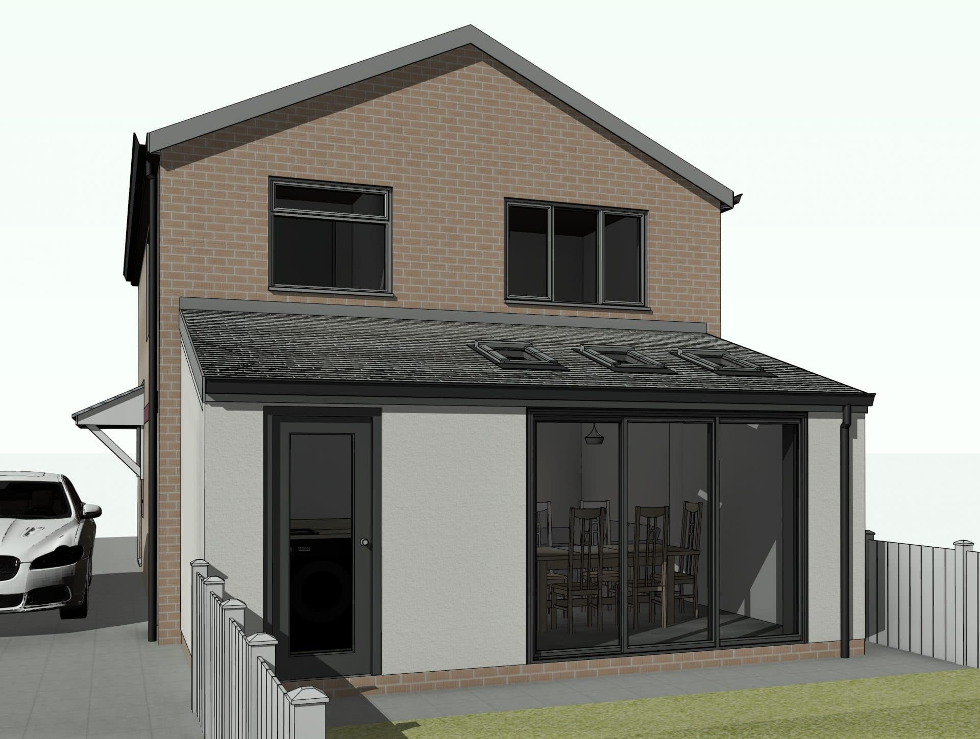 External 3D Visualisation of single storey extension